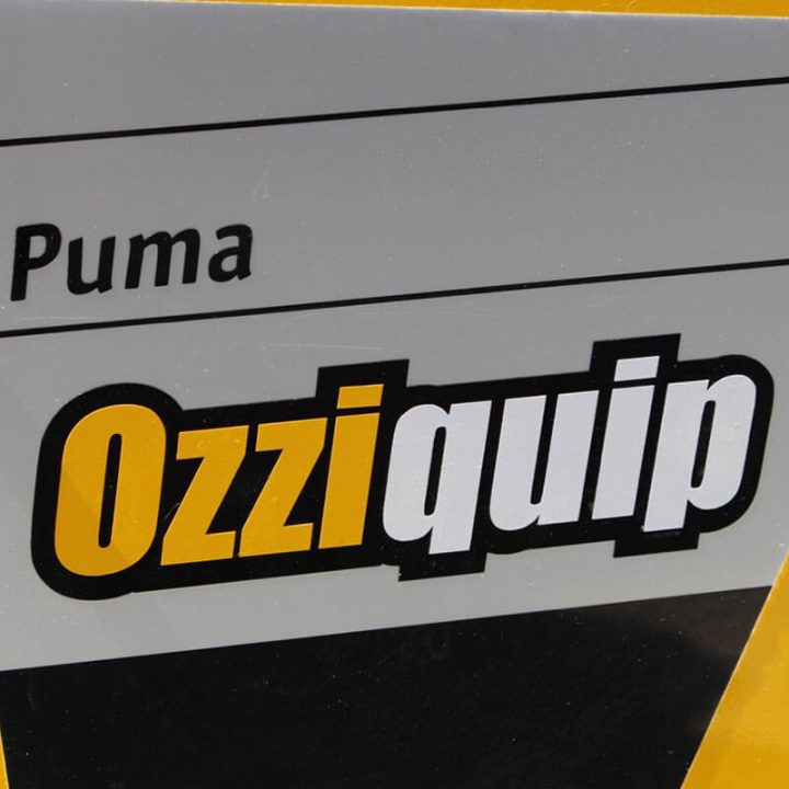 Ozziquip Puma Mini Loader close up of branding.
