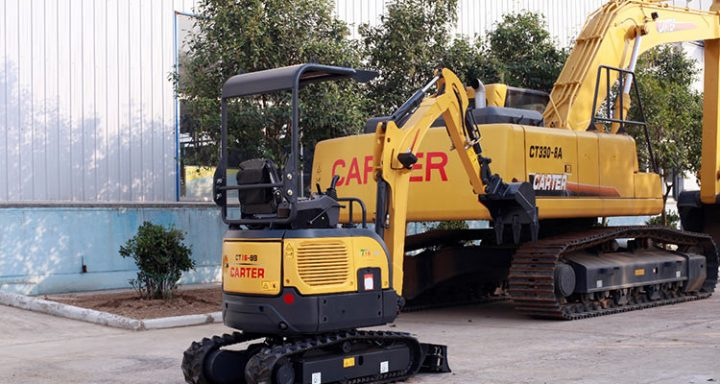 Mini excavator next to large excavator | Click here to learn how Buying a Mini Excavator Can Benefit Your Work