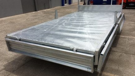 14 x 7 Flat Top Trailer 3000kg rear long view.