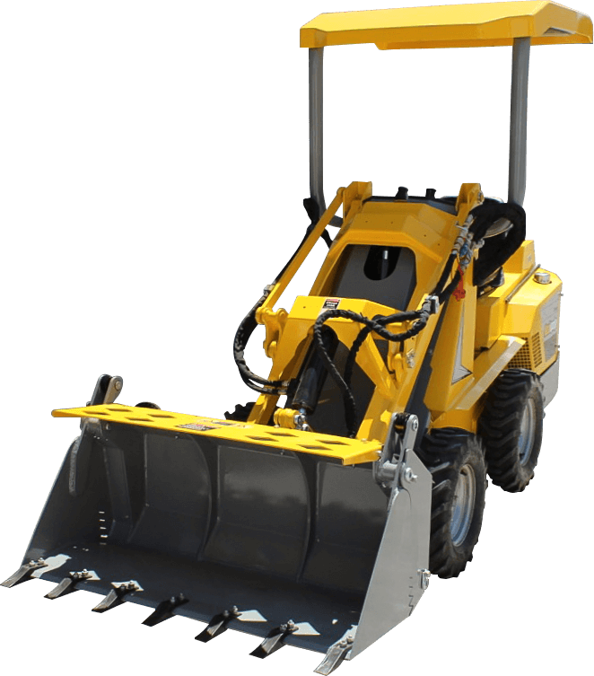 Ozziquip Puma Mini Loader front view on transparent background.