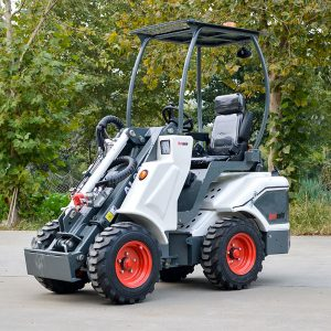 Ozziquip AL40 Mini Articulated Wheel Loader side view arm lowered.