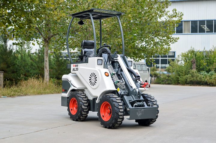 Ozziquip AL40 Mini Articulated Wheel Loader arm lowered.