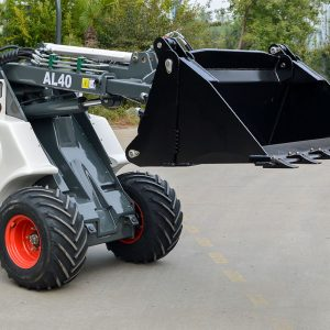 Ozziquip AL40 Mini Articulated Wheel Loader close up with bucket.
