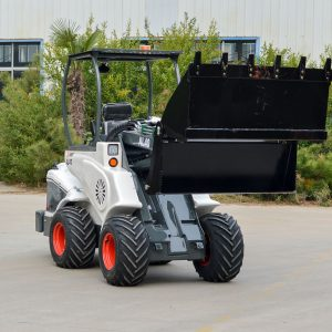 Ozziquip AL40 Mini Articulated Wheel Loader with bucket attachment.