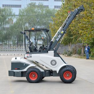Ozziquip AL40 Mini Articulated Wheel Loader with extended arm.
