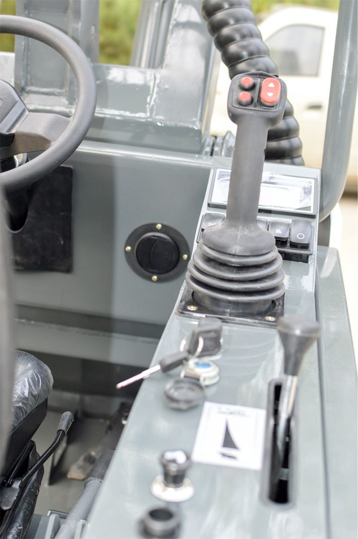 Ozziquip AL40 Mini Articulated Wheel Loader controls.